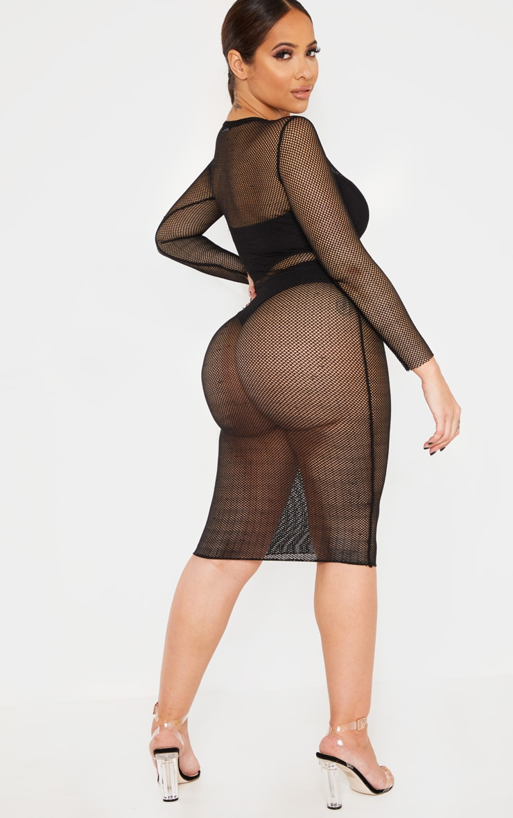 Shape Black Sheer Net Long Sleeve Midi Dress 2