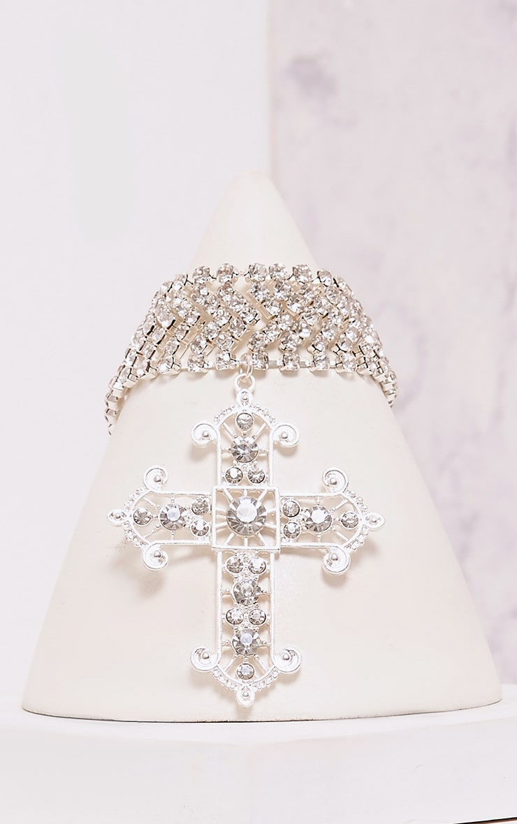 Ena Silver Diamante Detail Cross Choker 2
