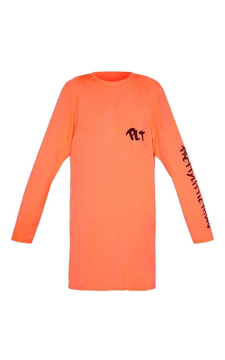 PRETTYLITTLETHING Neon Orange Slogan Long Sleeve T Shirt Dress 3