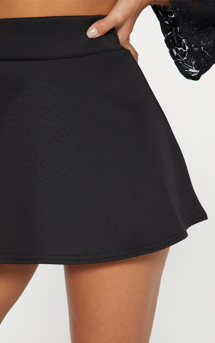 Black Scuba Flippy Mini Skirt  6