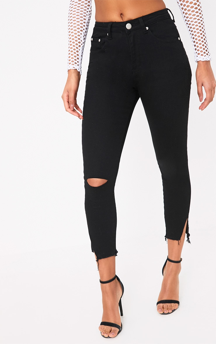 Black Split Hem Detail Skinny Jean 2