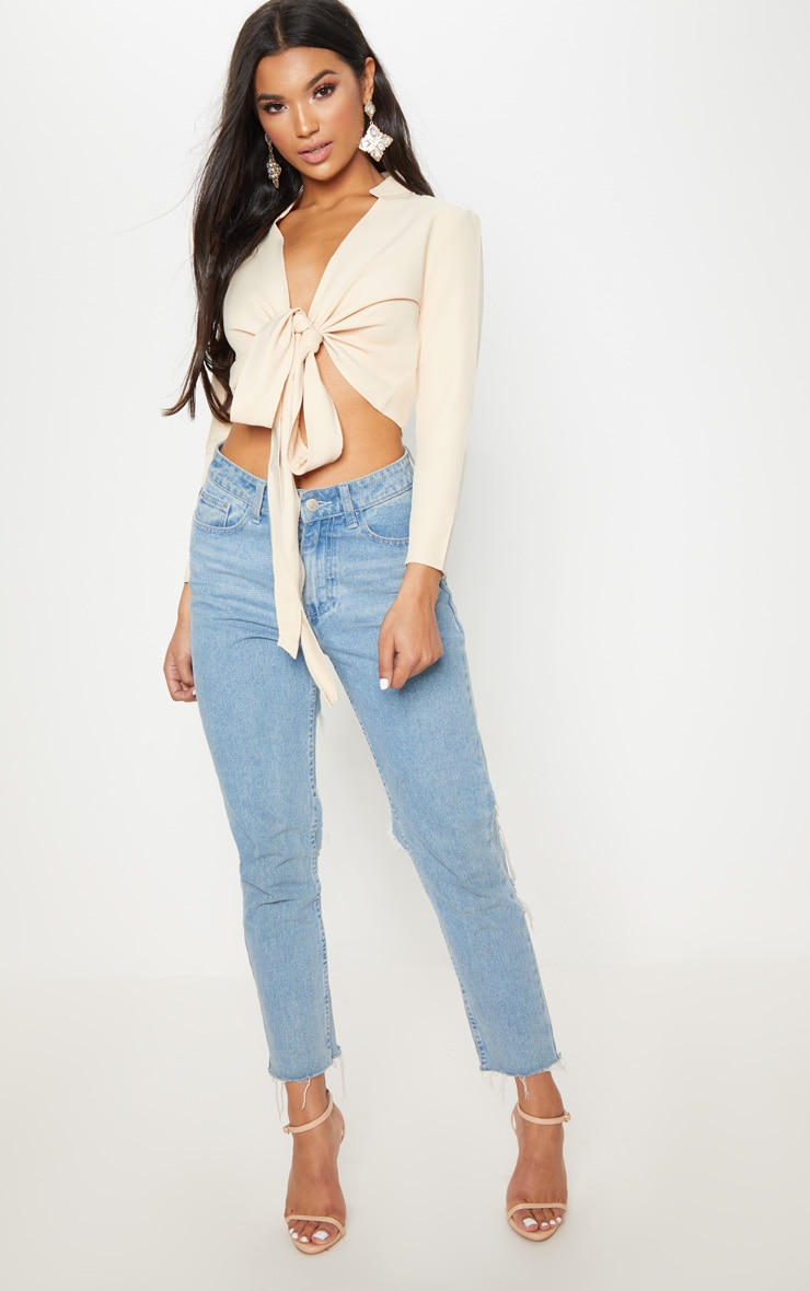 Blanche Stone Tie Front Long Sleeve Crop Blouse 4