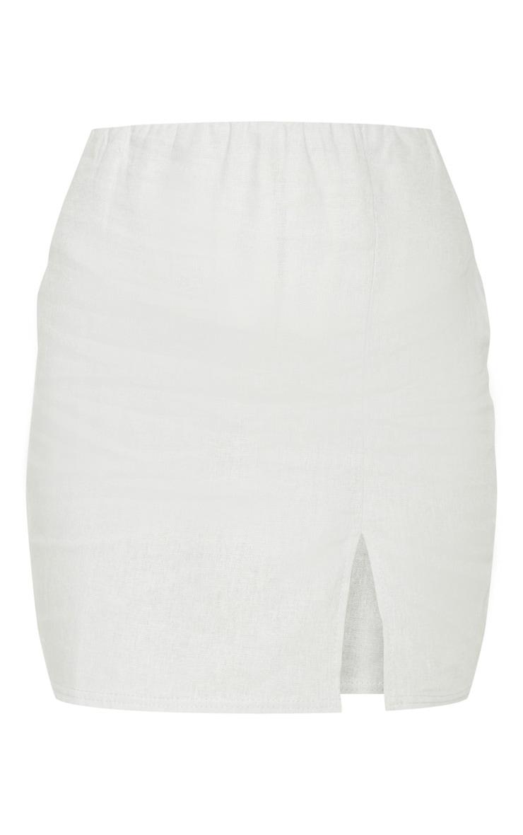 Grey Linen Feel Split Front Mini Skirt 3