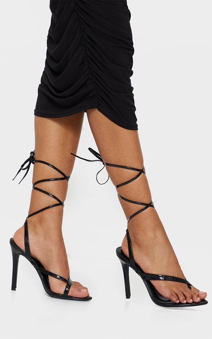 Black Cross Toe Loop Ankle Strappy High Heels 1