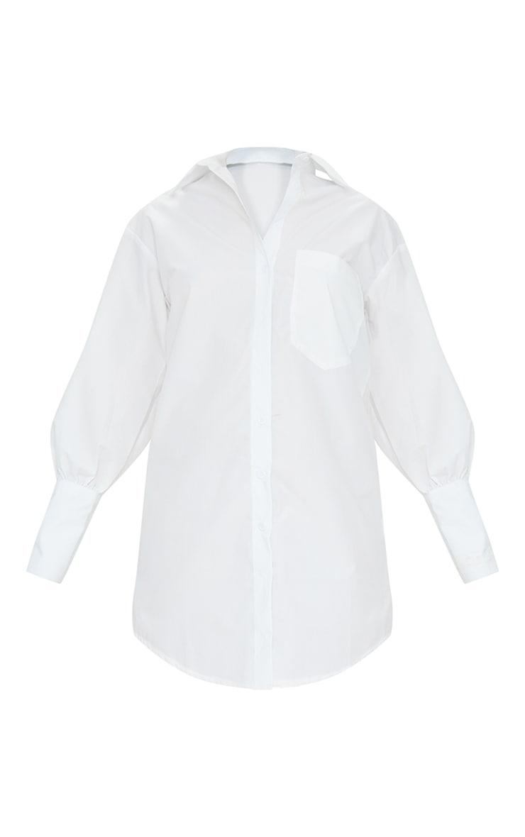 Petite White Oversized Cuff Shirt Dress 5