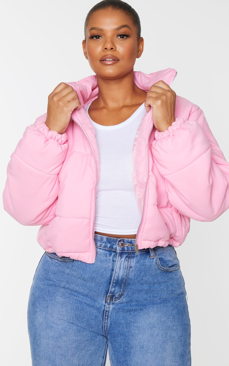 Plus Pink Super Cropped Peach Skin Puffer 1