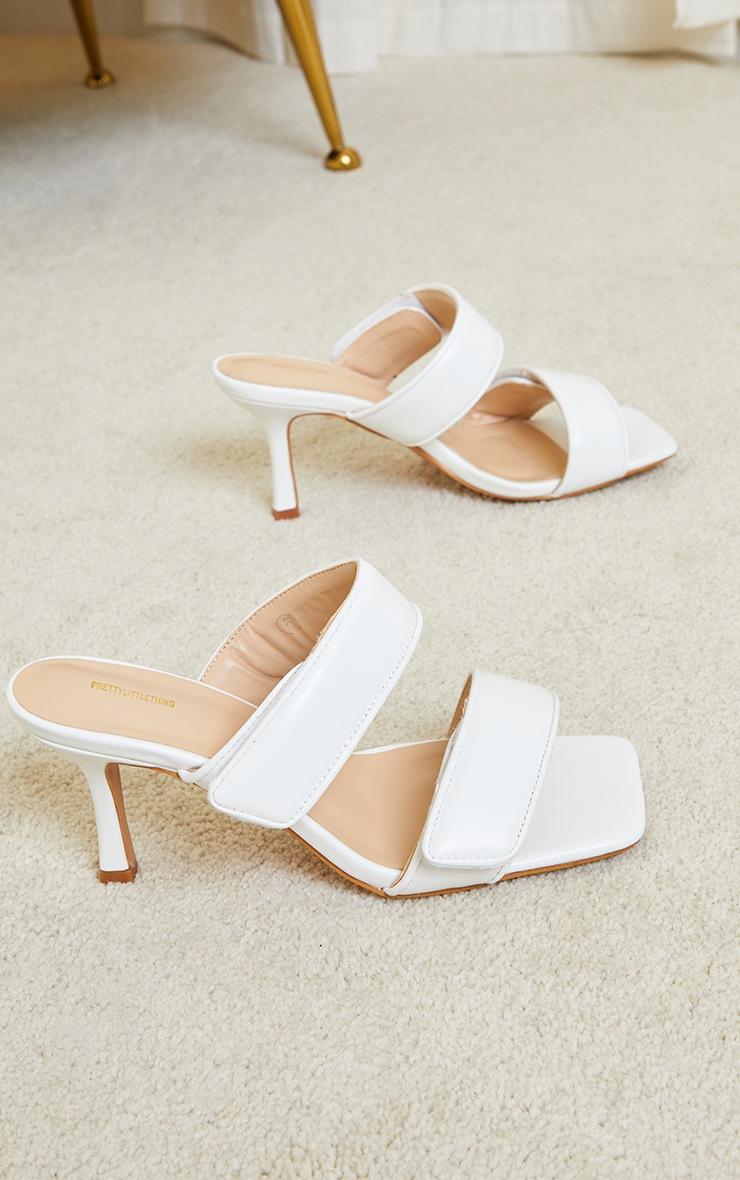 White Velcro Twin Strap Mule Heels 3