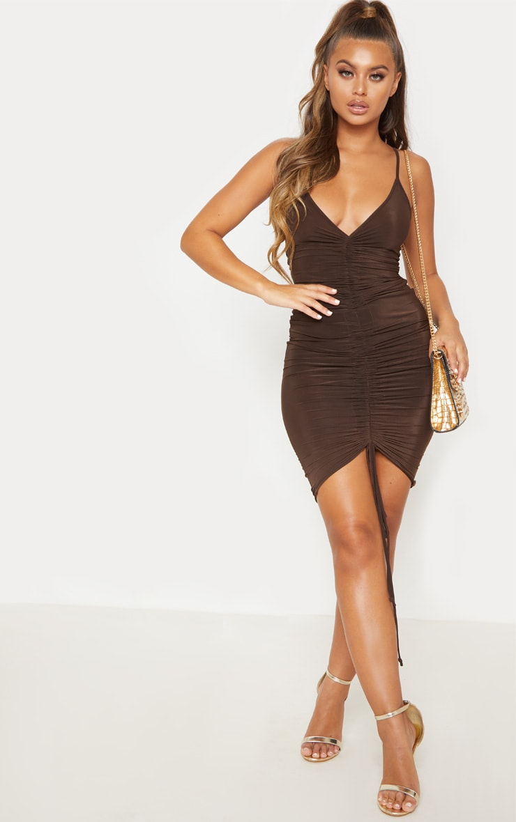 Chocolate Brown Ruched Front Midi Dress 5
