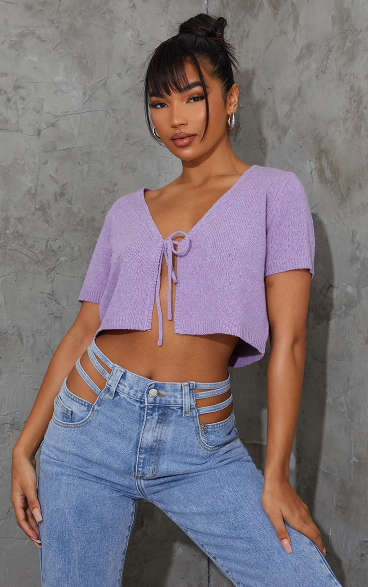 Lilac Tie Front Knitted Short Sleeve Cropped Cardigan 1