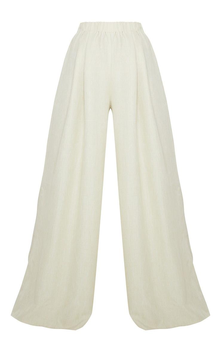 Khaki Linen Detail Print Wide Leg Pants 5