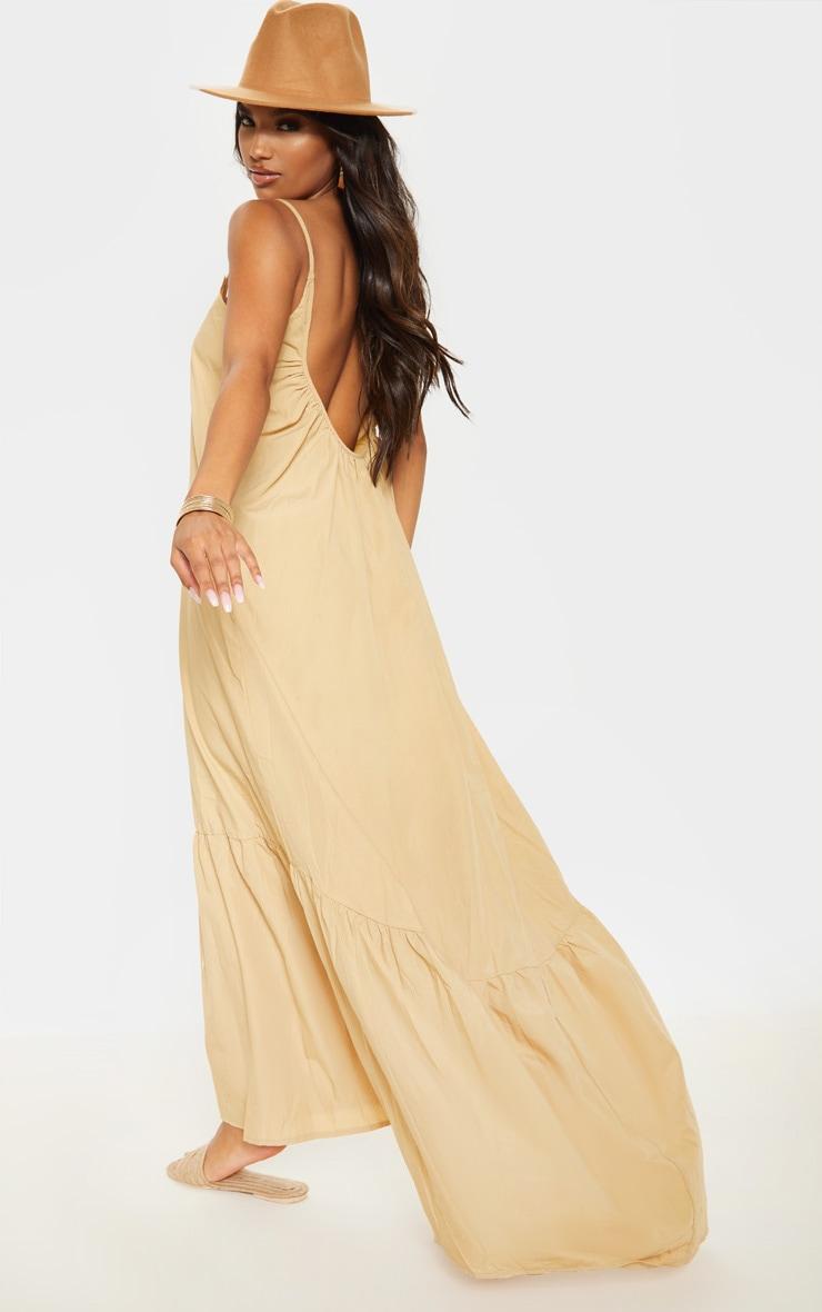 Camel Low Back Ruffle Hem Maxi Dress 2