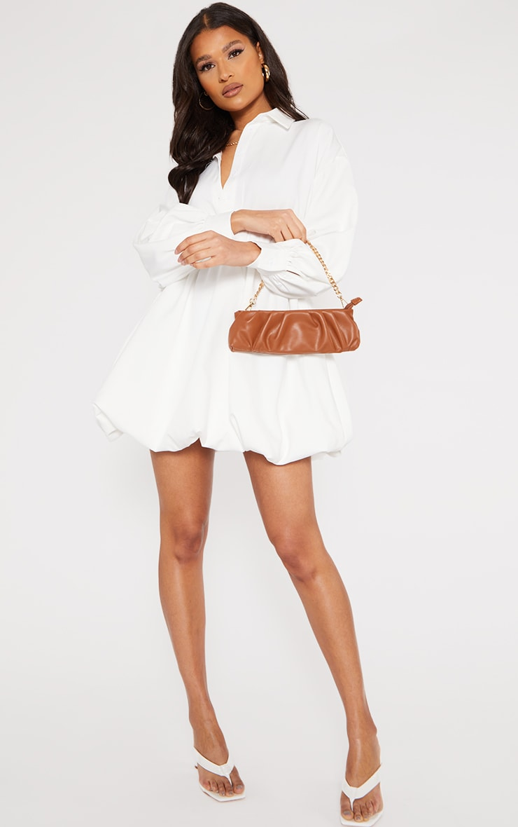 White Puffball Hem Shirt Dress 1