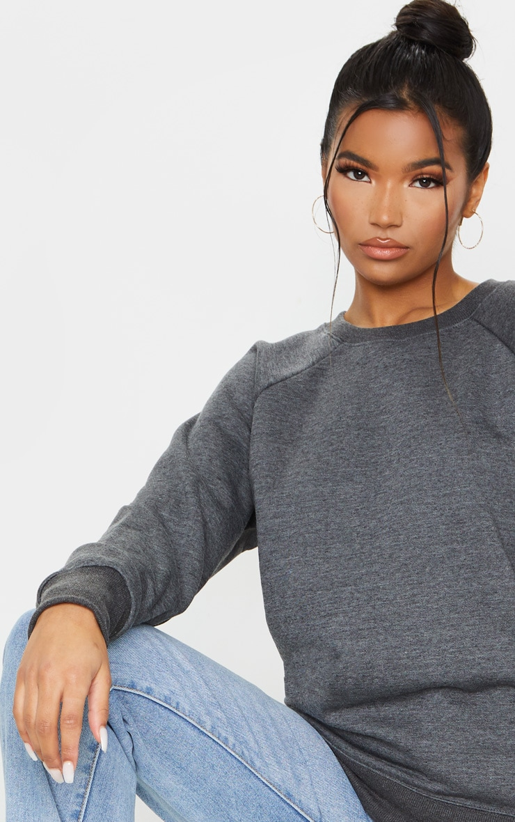 Basic Charcoal Grey  Crew Neck Sweater 4