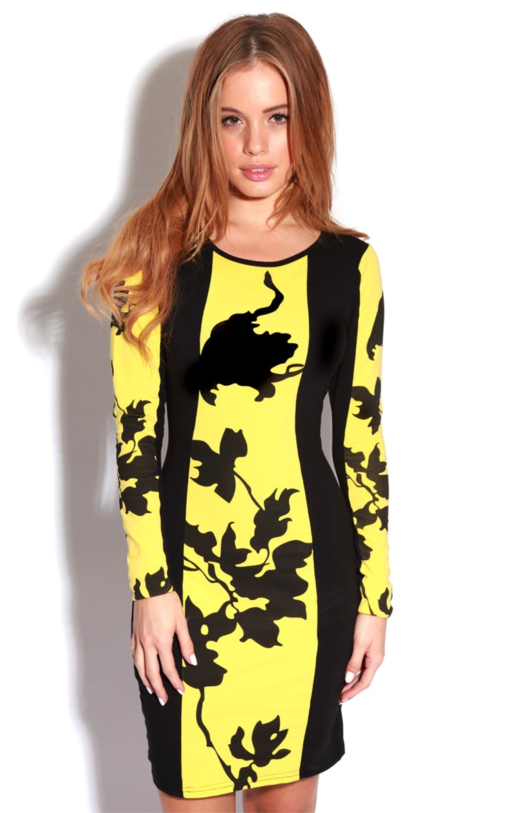 Rebekah Yellow & Black Floral Dress-S/M 5
