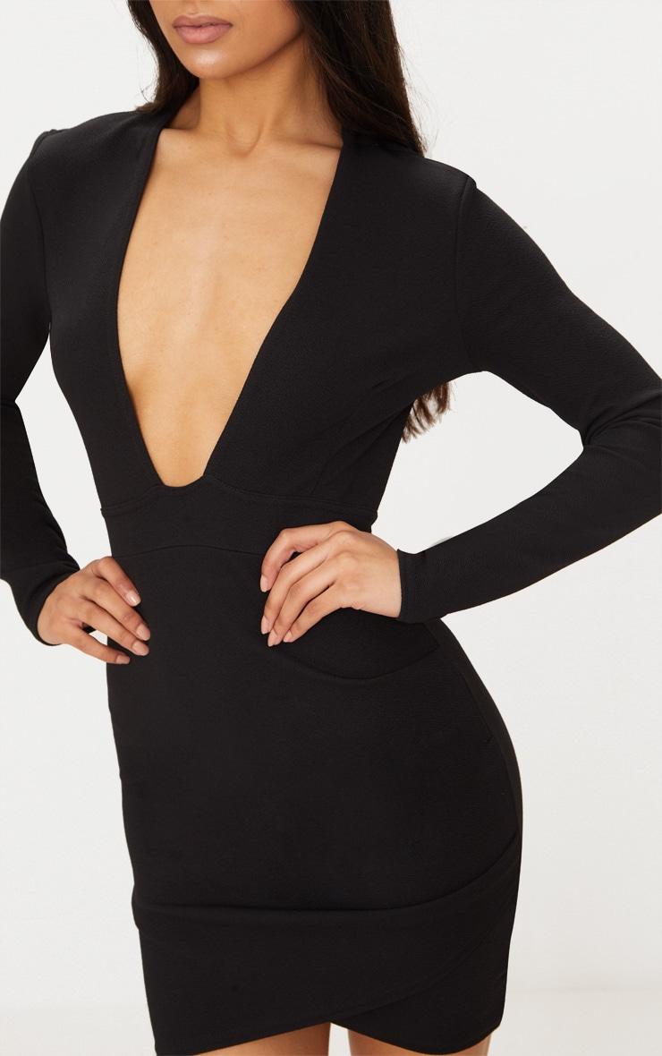 Black Plunge Cut Out Back Wrap Skirt Bodycon Dress 5