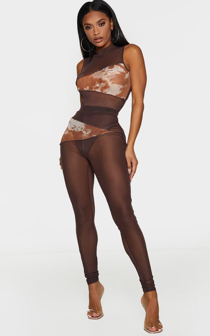 Shape Chocolate Brown Tie Dye Mesh Panel Detail Bodysuit 3