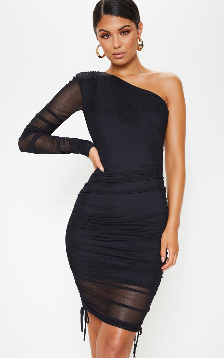 Black Mesh Ruched One Shoulder Bodycon Dress 4