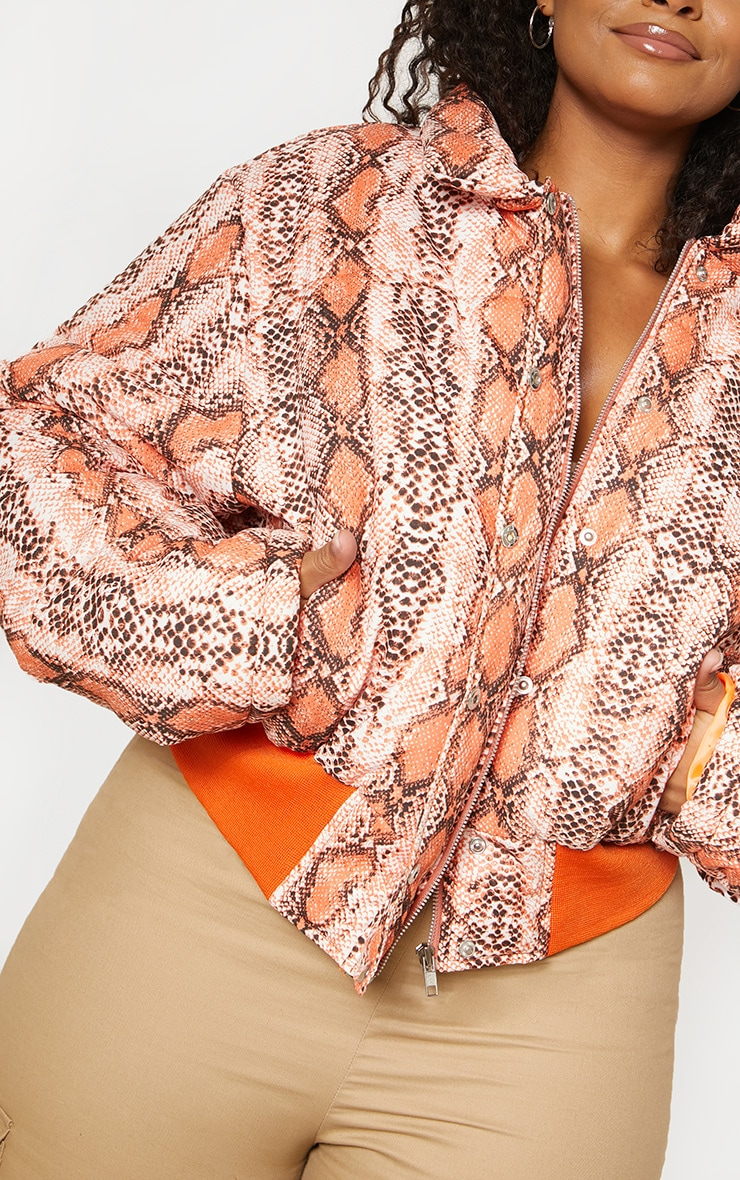 Plus Orange Snake Print Cropped Puffer 6