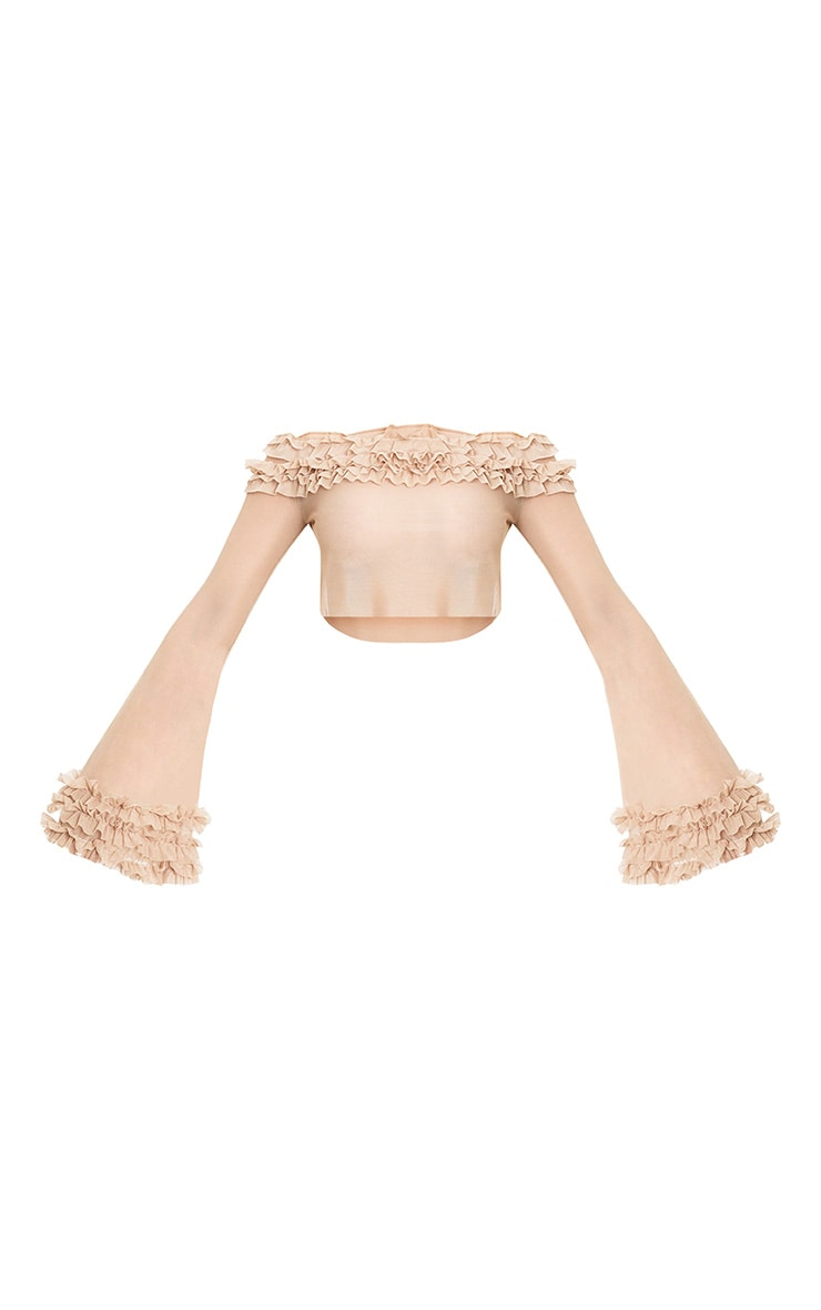 Nude Mesh Bardot Tulle Ruched Crop Top  3