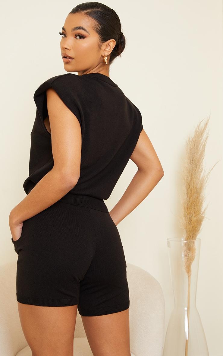 Black Shoulder Pad Knitted Soft Top 2