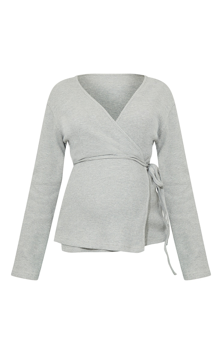 Maternity Grey Waffle Wrap Over Top 5