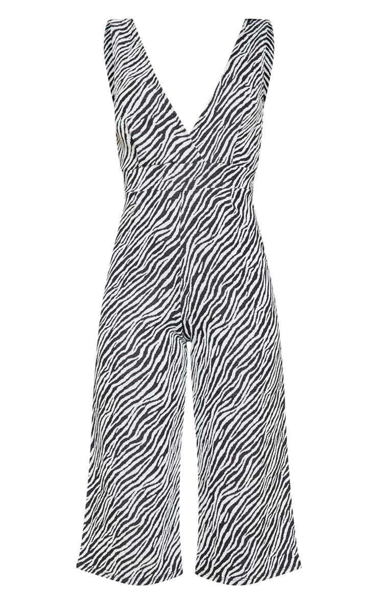 Zebra Print Plunge Jumpsuit  3