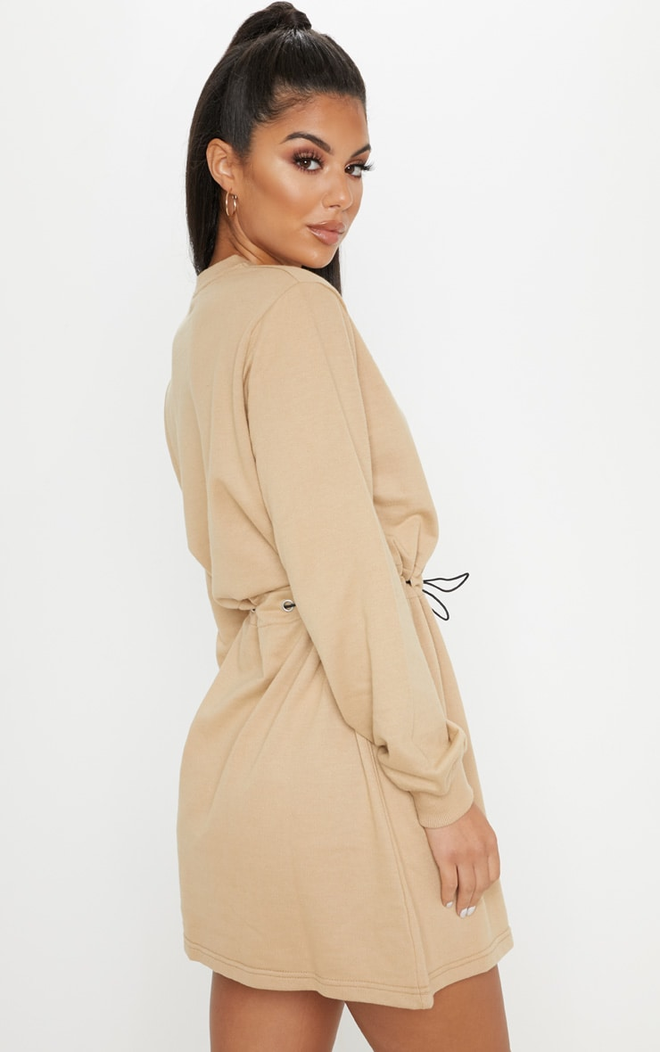 Sand Toggle Front Sweat Jumper Dress 2