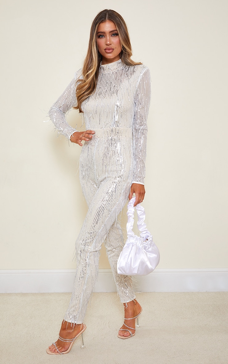 Silver Premium Tassel Sequin High Neck Shoulder Pad Jumpsuit 4