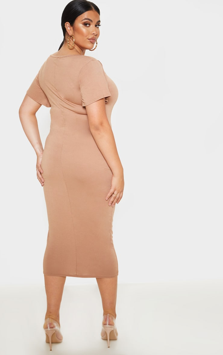 Plus Camel Jersey V Neck T- Shirt Midi Dress 2