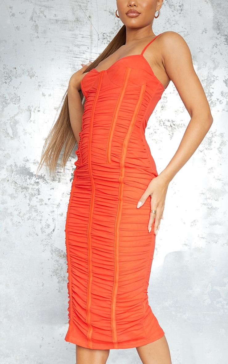 Orange Strappy Mesh Ruched Satin Binded Midi Dress 4