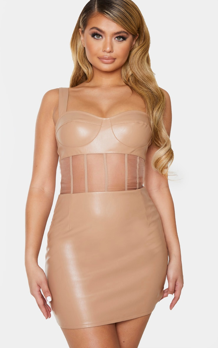 Taupe PU Mesh Binding Insert Sleeveless Bodycon Dress 1