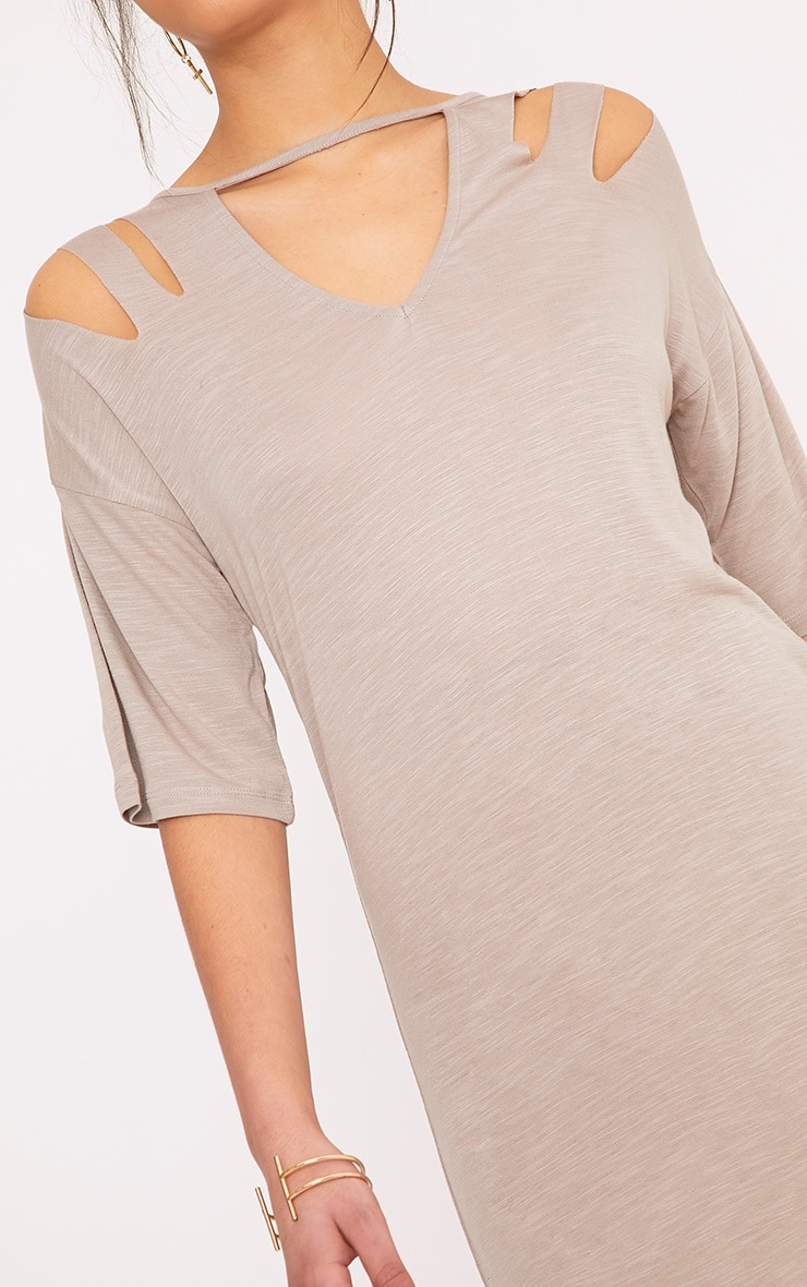 Laviina Taupe Jersey Slashed Cut Out Detail T shirt Dress 5