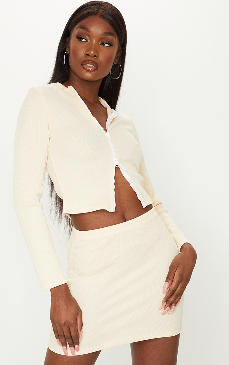 Tall Stone Structured Ribbed Double Zip Long Sleeve Top 1