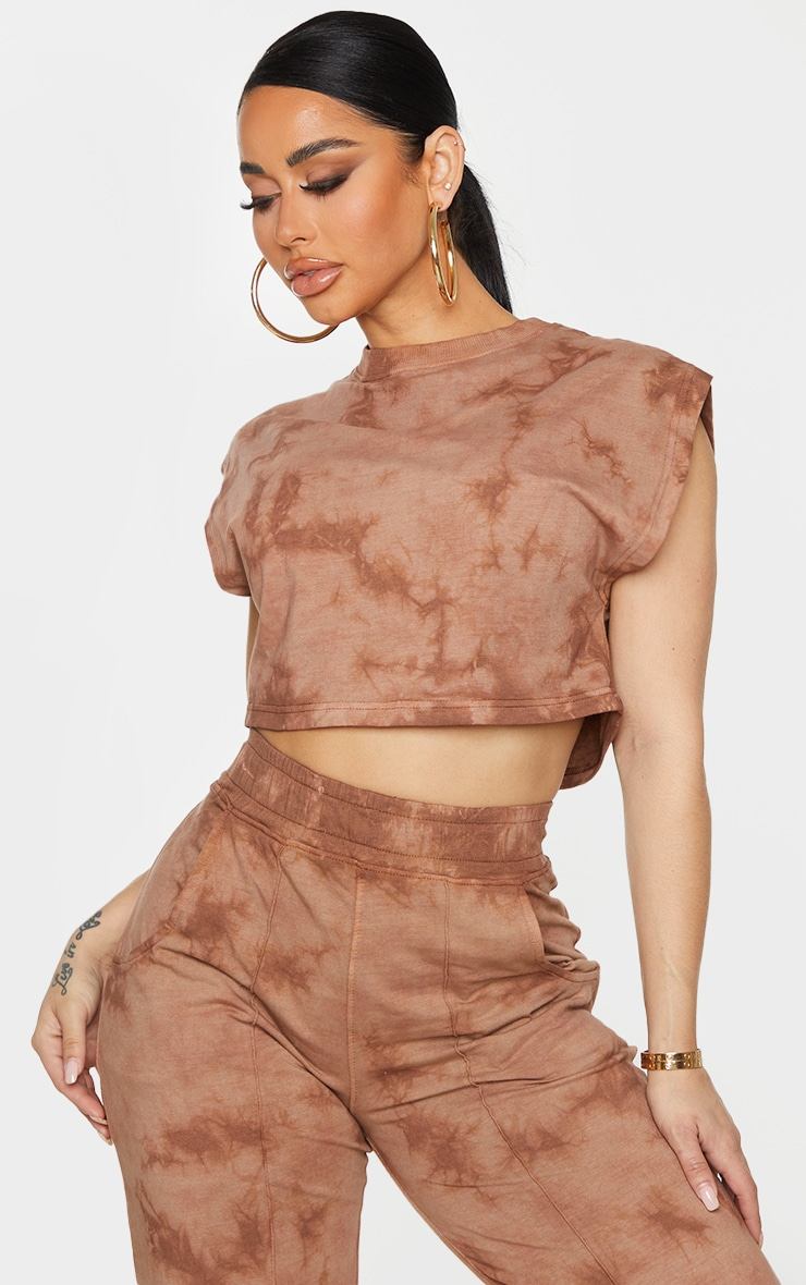 Shape Brown Acid Wash Cotton Sleeveless Crop Top 1
