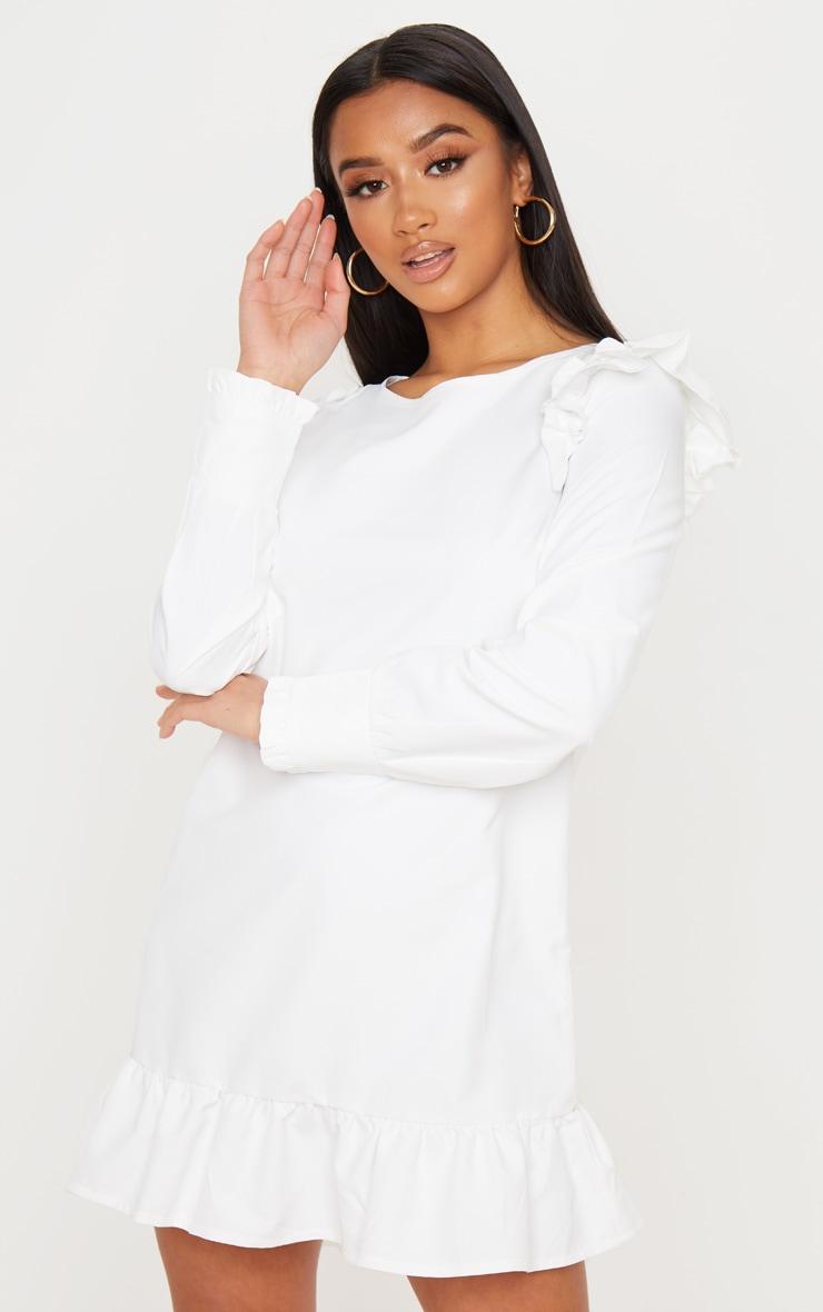 Petite - Mini-robe blanche à ourlet volanté et manches longues 1