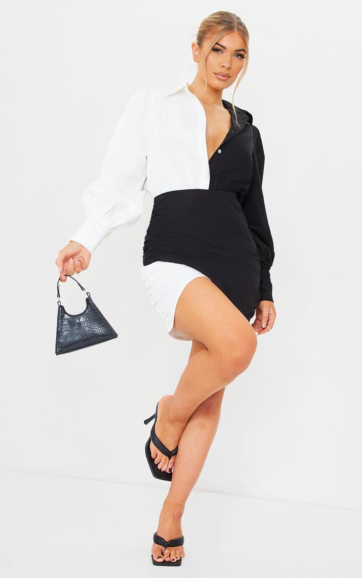 Monochrome Contrast Detail Long Sleeve Shirt Dress 3