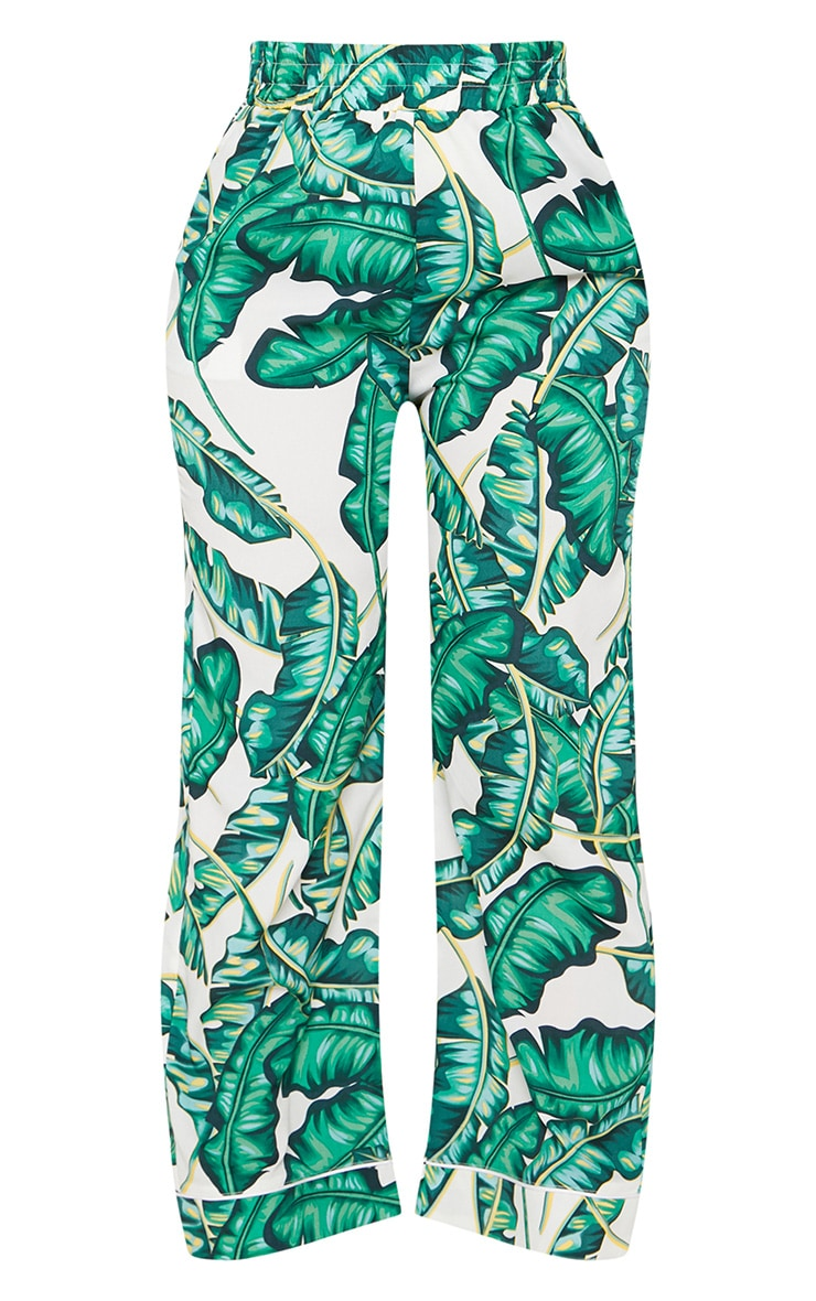 Plus Green Palm Print Wide Leg Trousers 3