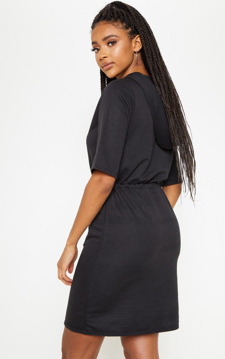Black Short Sleeve Tie Waist Jumper Dress 2