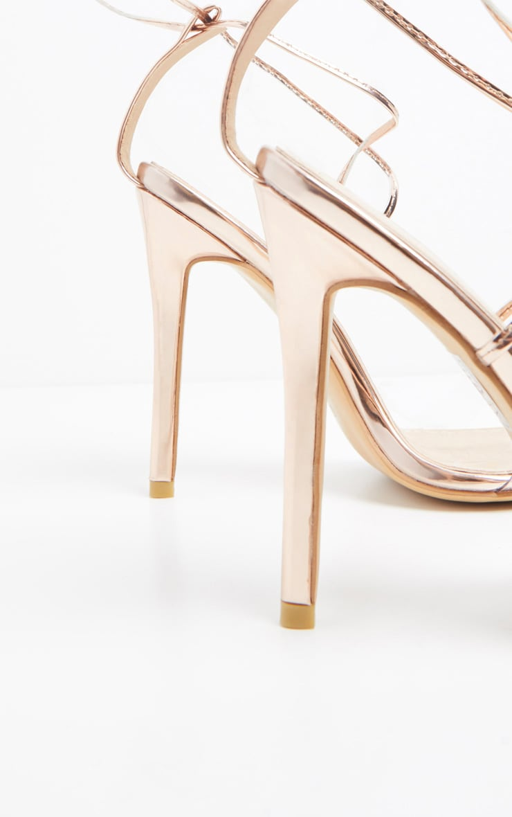 Rose Gold Clear Strap Point Toe Barely there Sandal 4