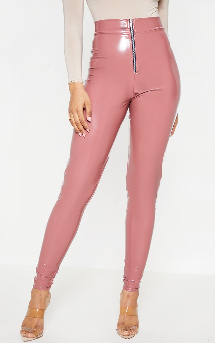 Tall Nude Zip Detail Vinyl Leggings 3