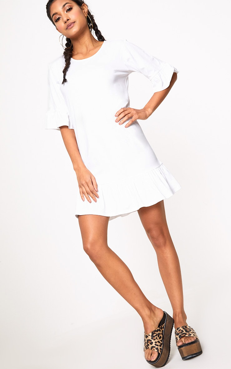 White Jersey Frill Hem Shift Dress 4