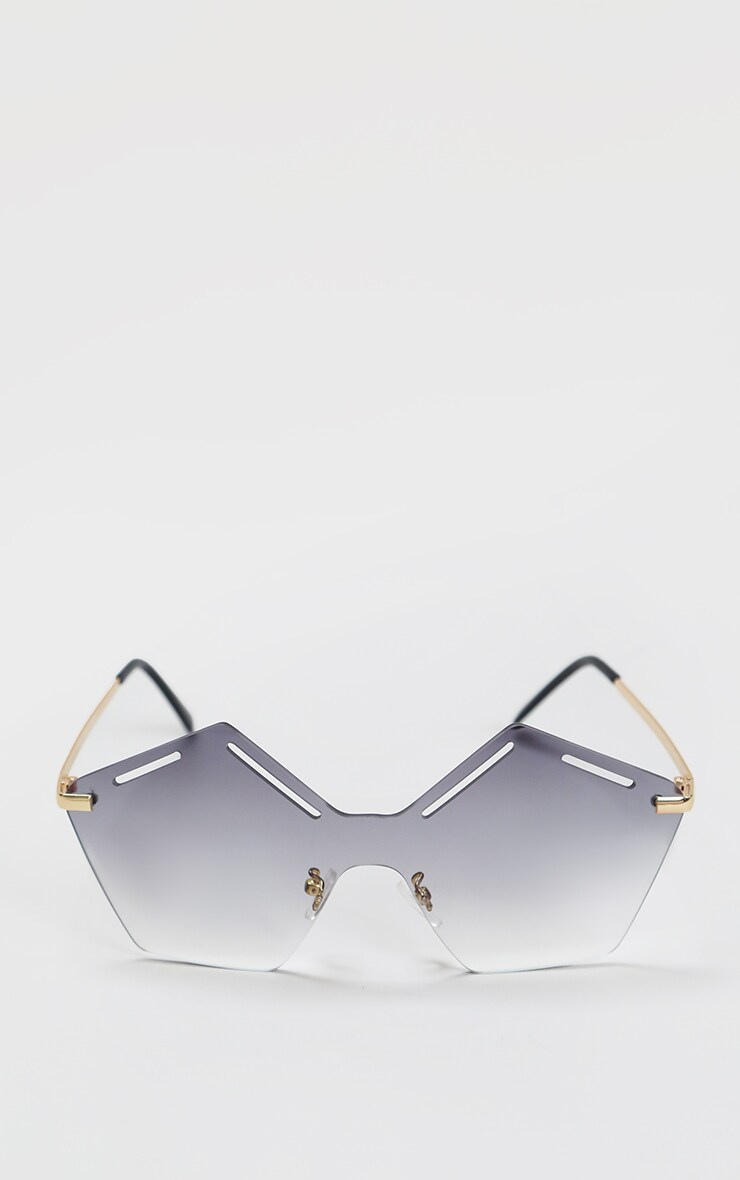 Black Faded Lens Cut Out Hexagon Sunglasses 1