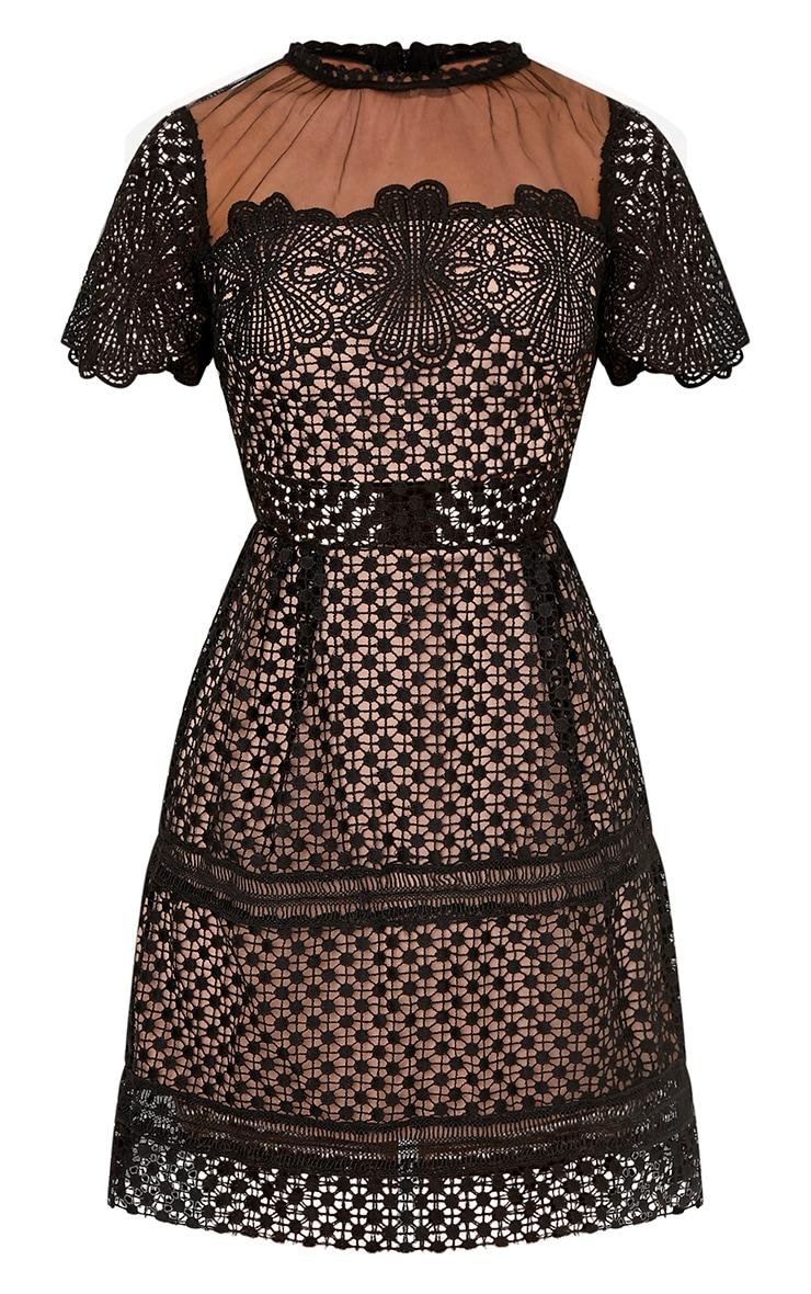 Zannia Black Cap Sleeve Lace Midi Dress 3