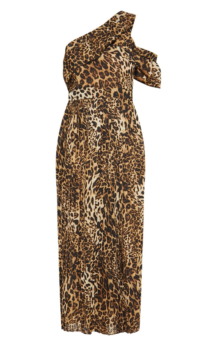 Tan Leopard Print One Shoulder Ruffle Detail Pleated Midi Dress 3
