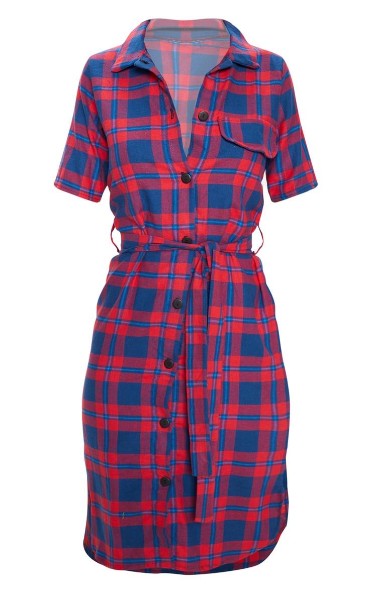Red Checked Short Sleeve Shirt Dress 3