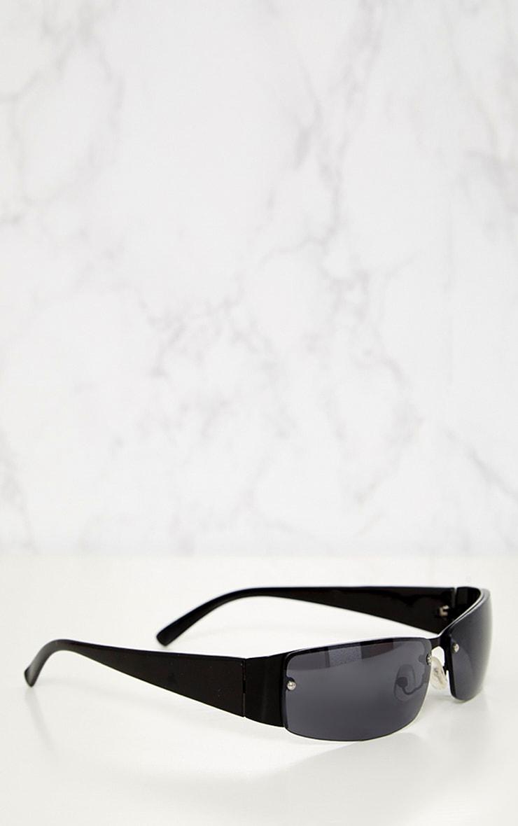 Black Thin Rectangle Retro Sunglasses 4