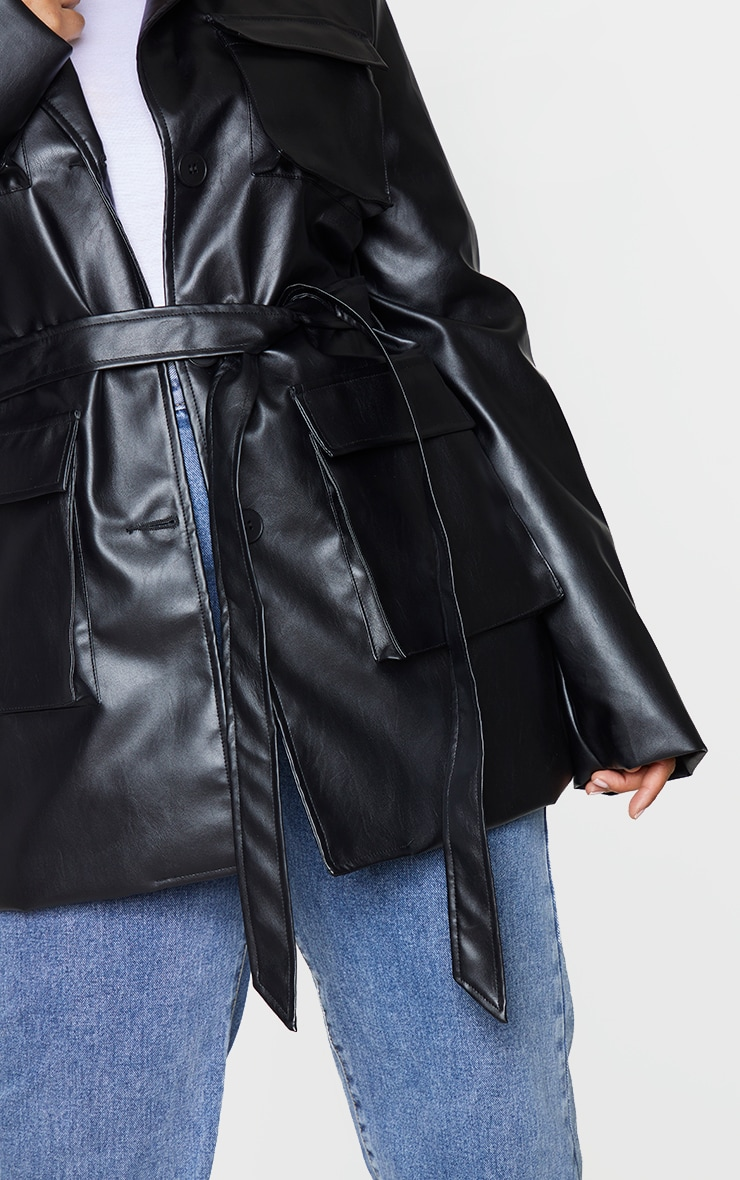Plus Black PU Longline Pocket Front Jacket 4