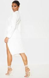White Knot Detail Blazer Style Midi Dress 2