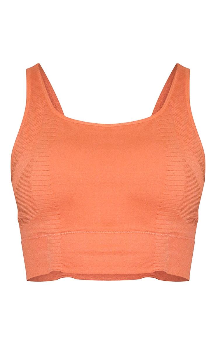 Orange Seamless Square Neck Gym Top 5