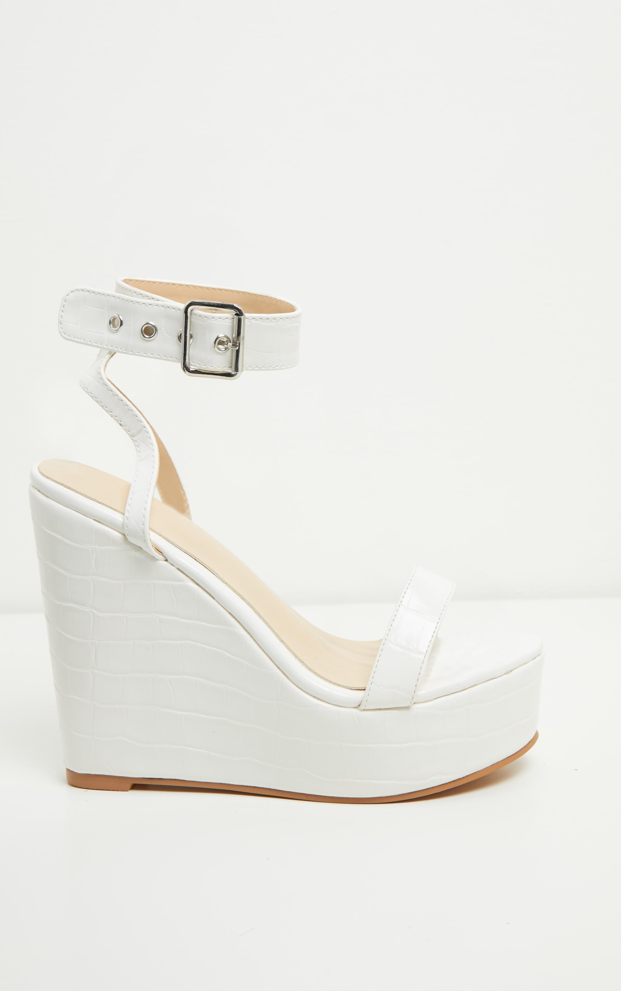White Ankle Strap High Wedges 4